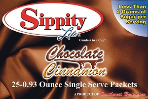 Sippity Lite Chocolate Cinnamon Hot Chocolate Mix<br/>Box of 25-0.93 oz Single Serve Packets