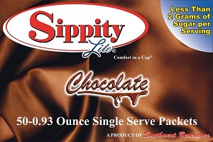 Sippity Lite Chocolate Hot Chocolate Mix<br/>Box of 50-0.93 oz Single Serve Packets