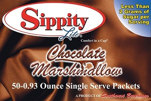 Sippity Lite Chocolate Marshmallow Hot Chocolate Mix<br/>Box of 50-0.93 oz Single Serve Packets