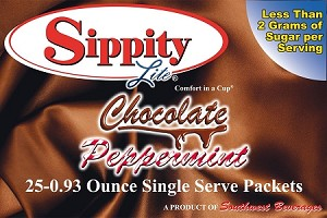 Sippity Lite Chocolate Peppermint Hot Chocolate Mix<br/>Box of 25-0.93 oz Single Serve Packets