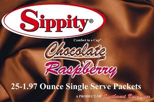 Sippity Chocolate Raspberry Hot Chocolate Mix<br/>Box of 25-1.97 oz Single Serve Packets