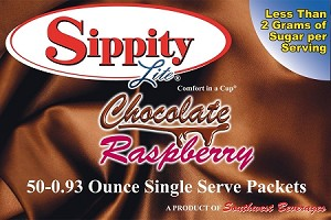 Sippity Lite Chocolate Raspberry Hot Chocolate Mix<br/>Box of 50-0.93 oz Single Serve Packets
