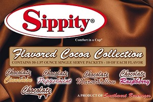 Sippity Flavored Cocoa Collection Box<br/>Box of 50-1.97 oz Single Serve Assorted Flavored Packets