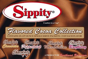 Sippity Flavored Cocoa Collection Box<br/>Box of 25-1.97 oz Single Serve Assorted Flavored Packets