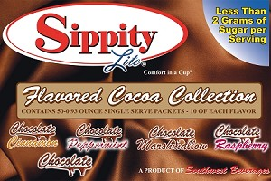 Sippity Lite Flavored Cocoa Collection Box<br/>Box of 50-0.93 oz Single Serve Assorted Flavored Packets