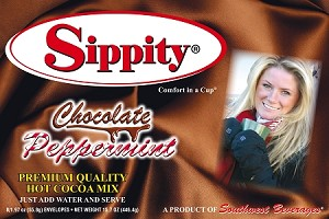 Sippity Chocolate Peppermint Hot Chocolate Mix<br/>Box of 8-1.97 oz Single Serve Envelopes
