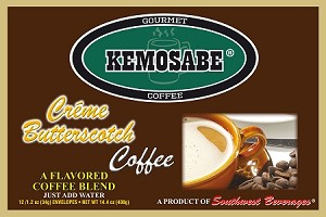 Kemosabe Creme Butterscotch Gourmet Flavored Coffee<br/>Box of 12-1.20 oz Single Serve Envelopes