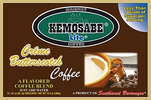 Kemosabe Lite Creme Butterscotch Gourmet Flavored Coffee<br/>Box of 12-0.87 oz Single Serve Envelopes