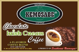 Kemosabe Chocolate Irish Cream Gourmet Flavored Coffee<br/>Box of 12-0.90 oz Single Serve Envelopes