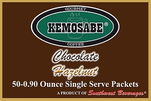 Kemosabe Chocolate Hazelnut Gourmet Flavored Coffee<br/>Box of 50-0.90 oz Single Serve Packets