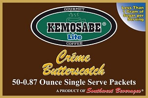 Kemosabe Lite Creme Butterscotch Gourmet Flavored Coffee<br/>Box of 50-0.87 oz Single Serve Packets
