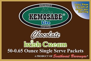 Kemosabe Lite Chocolate Irish Cream Gourmet Flavored Coffee<br/>Box of 50-0.65 oz Single Serve Packets