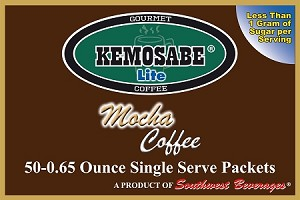 Kemosabe Lite Mocha Gourmet Flavored Coffee<br/>Box of 50-0.65 oz Single Serve Packets